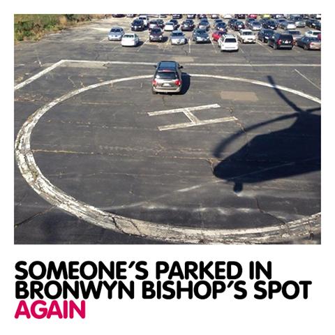 Bronwyn Obispos lugar de estacionamiento ocupado