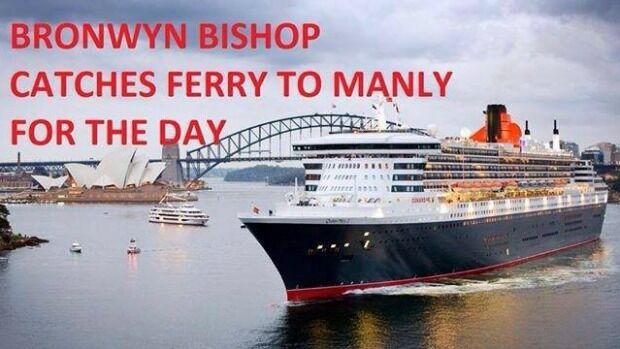 Bronwyn Bishop toma el ferry